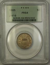 1865 Shield Nickel Rays Pattern Proof 5c Coin PCGS  J-416 Judd OGH WW
