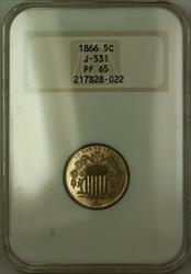 1866 Shield Nickel Pattern Gem Proof 5c Coin NGC  J-531 Judd WW