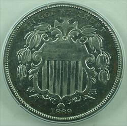 1869 *Unique* Shield Nickel Pattern 5c Coin PCGS  OGH Rattler J-689 Judd WW