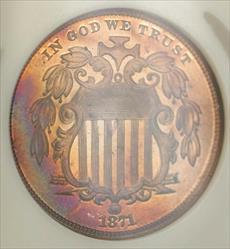 1871 Shield Nickel Pattern Proof 5c Coin NGC  RB Toned GEM J-1056 Judd WW