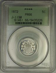 1872 Shield Nickel Pattern Gem Proof 5c Coin PCGS  OGH J-1190 Judd WW