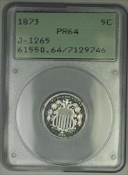 1873 Shield Nickel Pattern Proof 5c Coin PCGS  OGH Rattler J-1265 Judd WW
