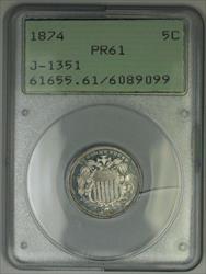 1874 Shield Nickel Pattern Proof 5c Coin PCGS  OGH Rattler J-1351 Judd WW