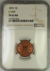 1874 Shield Nickel Pattern Proof 5c Copper Coin NGC  RB J-1350 Judd WW