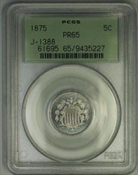 1875 Shield Nickel Pattern Gem Proof 5c Coin PCGS  OGH J-1388 Judd WW