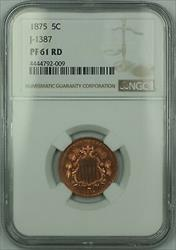 1875 Shield Nickel Pattern Proof 5c Copper Coin NGC  RED J-1387 Judd WW
