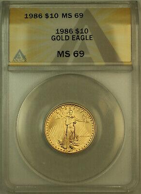 1986 $10 American  AGE 1/4 Oz ANACS (A)