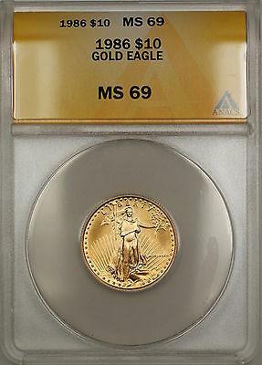 1986 $10 American  AGE 1/4 Oz ANACS GEM SB