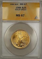 1986 $25 American  AGE 1/2 Oz ANACS GEM SB