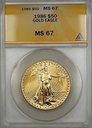 1986 $50 American  AGE 1 Oz ANACS GEM SB