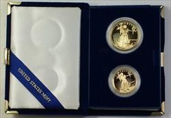 1987 US American  Eagle AGE Proof Set 2 s Total In OGP W/ COA JAH