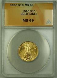 1990 $10 American  AGE 1/4th Oz ANACS