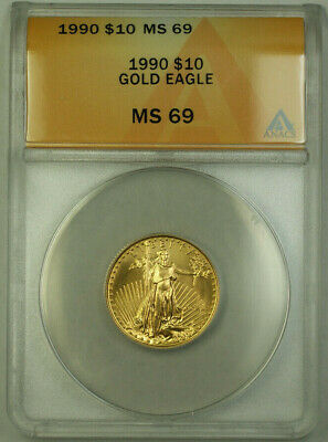 1990 $10 American  AGE 1/4th Oz ANACS