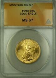 1990 $25 American  AGE 1/2 Oz ANACS (B)