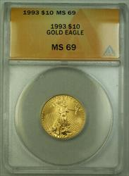 1993 $10 American  AGE 1/4th Oz ANACS