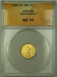 1993 $5 American  AGE 1/10th Oz ANACS