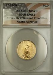1999 W Emergency Issue $10 American  ANACS Unfinished PRDie