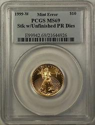 1999 W Emergency Issue $10 American  PCGS Mint Error