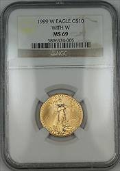 1999 W With W Emergency Issue $10 American  Eagle AGE 1/4 Oz  NGC