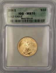2001 $10  American  AGE 1/4 Oz ICG Perfect GEM