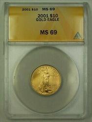2001 US $10 Ten  American  AGE 1/4 Oz ANACS