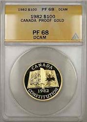 1982 Proof Canada Constitution 1/2 oz   $100 ANACS DCAM (AMT)