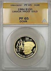 1984 Proof Canada Jacques Cartier 1/2 oz   $100 ANACS DCAM (AMT)