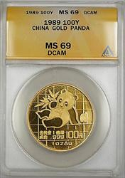 1989 China 100Y Yuan  Panda  ANACS DCAM *Nearly Perfect Gem* SB