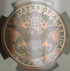 1875 $20 Liberty Double Eagle Proof Pattern  J 1448 NGC WW Not