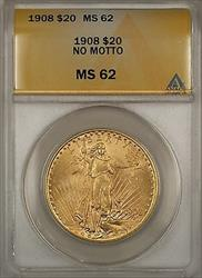 1908 No Motto $20 St. Gaudens Double Eagle   ANACS BP