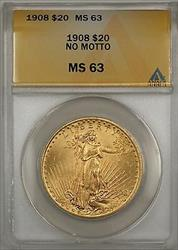 1908 No Motto $20 St. Gaudens Double Eagle   ANACS BP