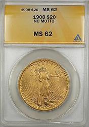1908 No Motto $20 St. Gaudens Double Eagle   ANACS SB