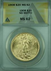 1908 No Motto St. Gaudens $20 Double Eagle   ANACS