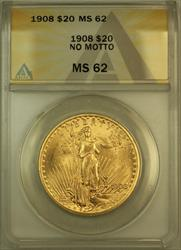 1908 No Motto St. Gaudens $20 Double Eagle   ANACS