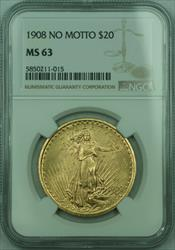 1908 No Motto St. Gaudens $20 Double Eagle   NGC (A)
