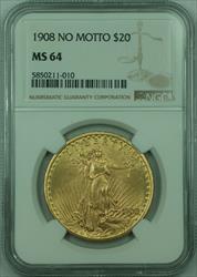 1908 No Motto St. Gaudens $20 Double Eagle   NGC (A)
