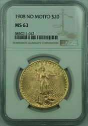 1908 No Motto St. Gaudens $20 Double Eagle   NGC (B)