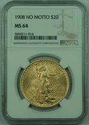 1908 No Motto St. Gaudens $20 Double Eagle   NGC (C)