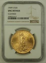 1909 S US St. Gaudens Double Eagle $20   NGC UNC Details Cleaned