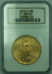 1910 D $20 Saint Gauden's $20 Double Eagle  Piece NGC