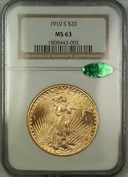1910 S $20 St. Saint Gaudens Double Eagle   NGC CAC Choice BU