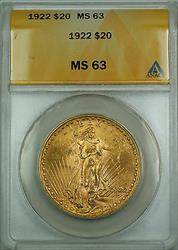 1922 $20 St. Gaudens Double Eagle   ANACS BS