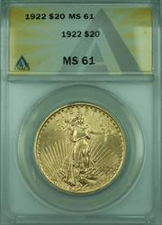 1922 St. Gaudens $20 Double Eagle   ANACS