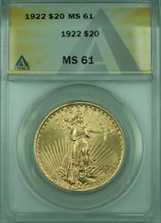 1922 St. Gaudens $20 Double Eagle   ANACS