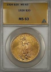 1926 $20  St. Gaudens Double Eagle   ANACS BP