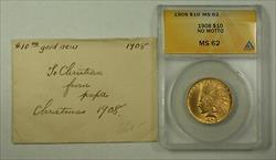 1908 No Motto Indian  Eagle Ten  $10  ANACS JMX