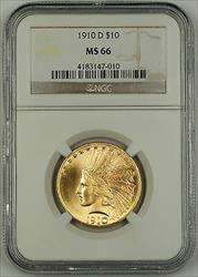 1910 D Indian Ten  $10 Eagle   NGC GEM BU UNC