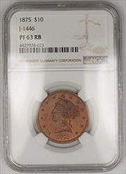 1875 $10 Liberty Copper Eagle Proof Pattern  J 1446 NGC RB Not  WW