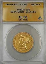 1881 S Eagle   $10 ANACS Scratched Cleaned Details