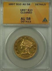 1897 $10 Eagle   ANACS Details Cleaned